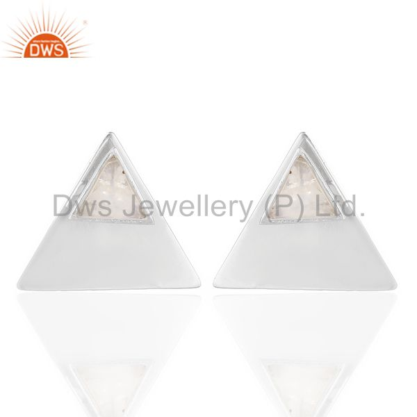 Rainbow Moon Stone Two Way Triangle White Rhodium 92.5 Sterling Silver Earring
