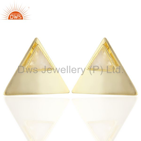 14K Gold Plated 925 Sterling Silver Pyramid Design Rainbow Moonstone Earrings