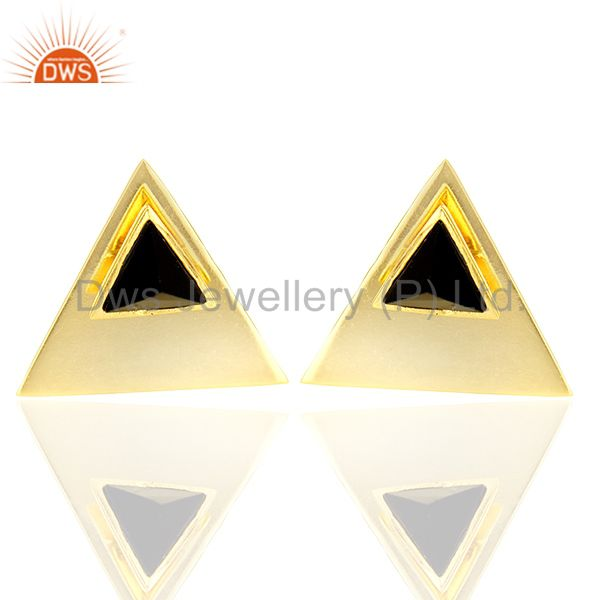 Black Onyx Stud 14K Yellow Gold Plated 925 Sterling Silver Earrings Jewelry
