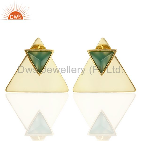 14K Gold Plated 925 Sterling Silver Pyramid Design Green Onyx Studs Earrings