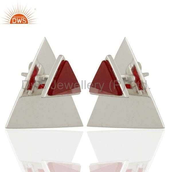 Red Onyx Two Way Stud Triangle 92.5 Sterling Silver Earrings Jewelry