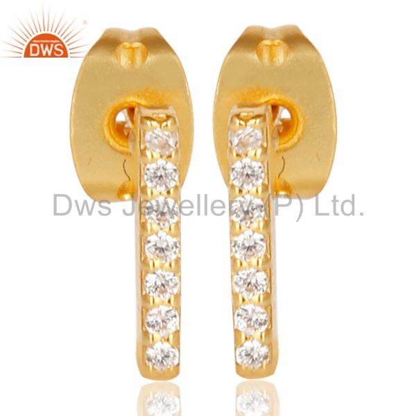 CZ Stud 14K Yellow Gold Plated 925 Sterling Silver Earrings Exclusive Jewelry