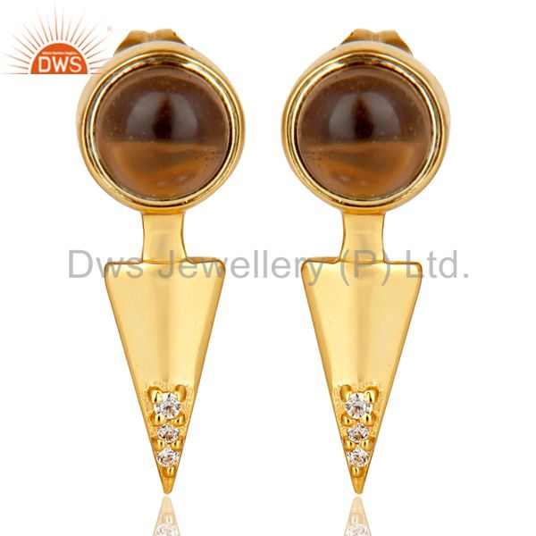 Smoky Topaz Studded Gold Plated Double Ear Jacket In 92.5 Sterling Silver