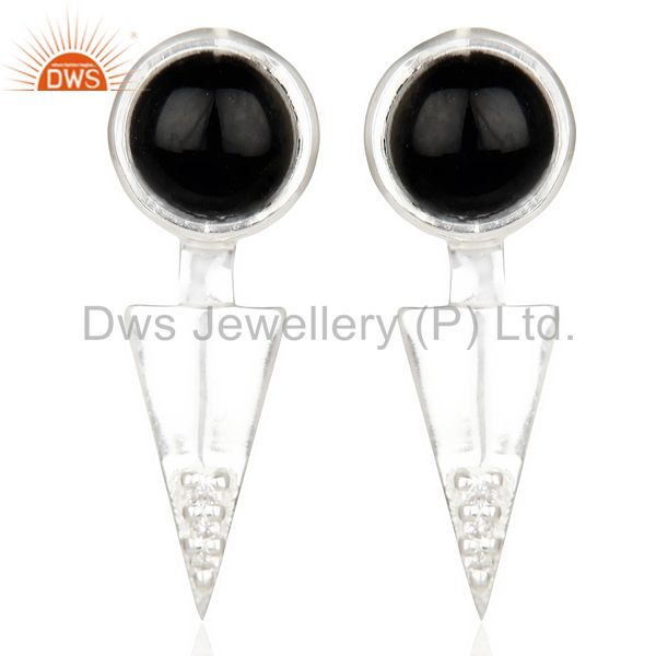 Black Onyx Studded Two Way Earring Double Jacket earing In Solid Silver