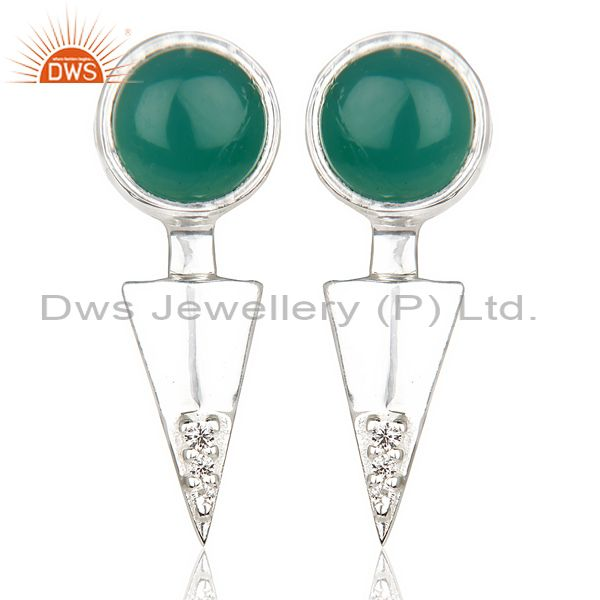 Green Onyx Studded Two Way Earring Double Jacket earing In Solid Silver