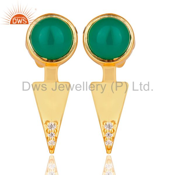 Green Onyx Studded Gold Plated Double Ear Jacket In 92.5 Sterling Silver