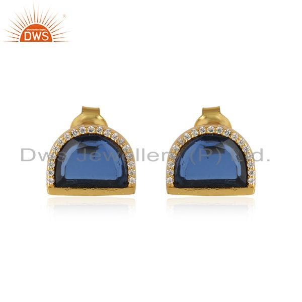 Cz blue corundum gemstone designer gold over silver stud earrings