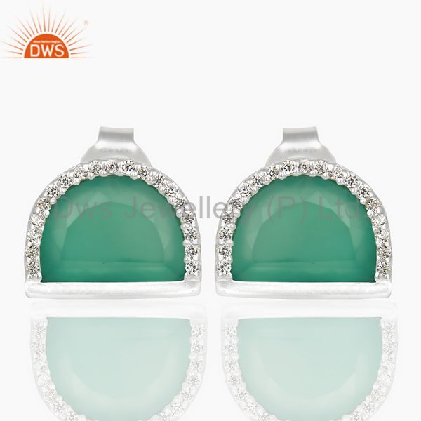 Green Onyx Half Moon Cz Stud 92.5 Sterling Silver Trendy Earring