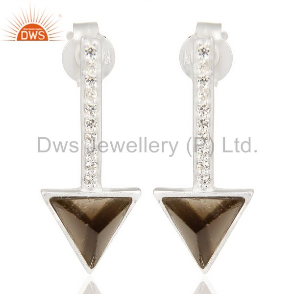 Smoky Topaz Triangle Cut Post 92.5 Sterling Silver Earring,Stud Long Earring