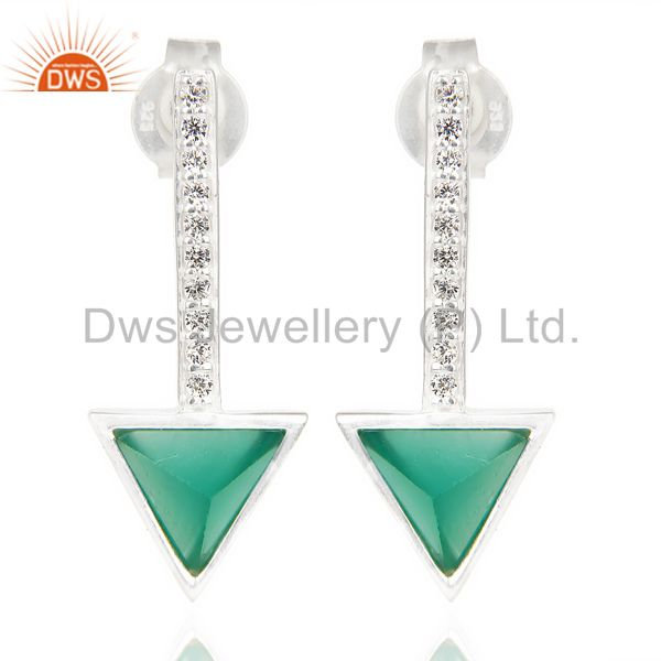 Green Onyx Triangle Cut Post 92.5 Sterling Silver Earring,Stud Long Earring