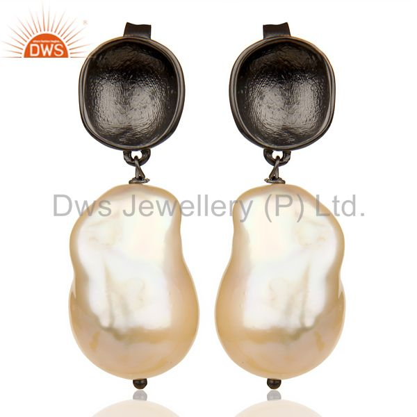 Baroque Fresh Water Pearl Long Dangle Black Rhodium 92.5 Silver Earring