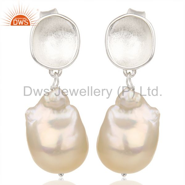Baroque Fresh Water Pearl Long Dangle 92.5 Sterling Silver Earring