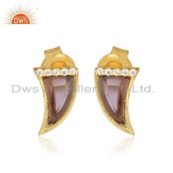 Horn shape gold plated silver cz blue corundum gemstone earrings