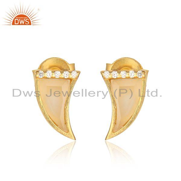 Horn design gold plated silver cz yellow moonstone stud earrings