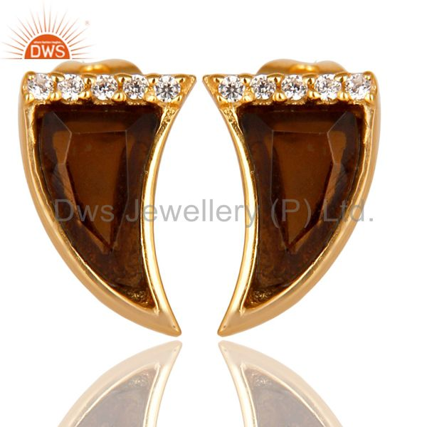 Smoky Topaz Tiny Horn Cz Studded Post Gold Plated Sterling Silver Earring