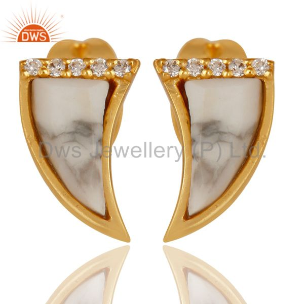 Howlite Tiny Horn Cz Studded Post Gold Plated Sterling Silver Earring