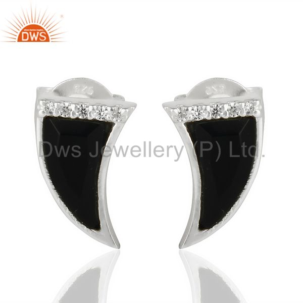 Black Onyx Tiny Horn Cz Studded Post 92.5 Sterling Silver Small Earring