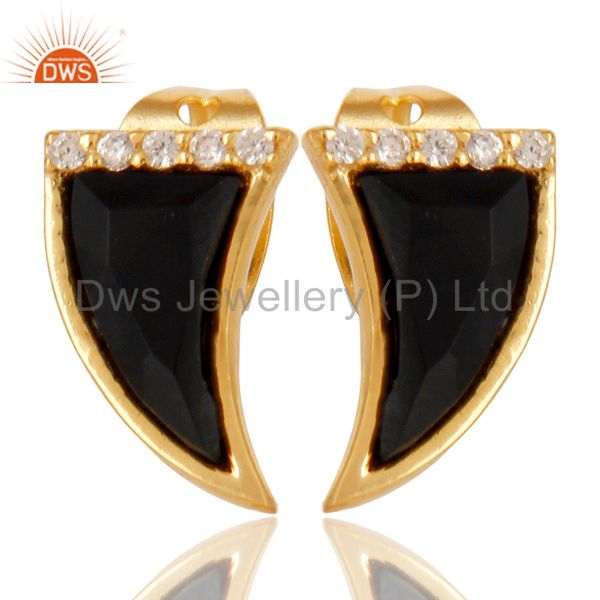 Black Onyx Tiny Horn Cz Studded Post Gold Plated Sterling Silver Earring