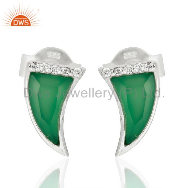 Green Onyx Tiny Horn Cz Studded Post 92.5 Sterling Silver Small Earring