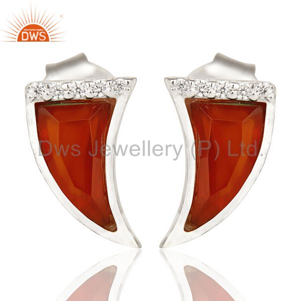 Red Onyx Tiny Horn Cz Studded Post 92.5 Sterling Silver Small Earring