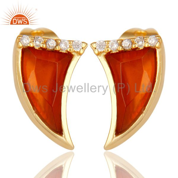 Red Onyx Tiny Horn Cz Studded Post Gold Plated Sterling Silver Earring