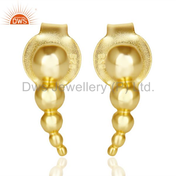 Dotted Honey Bee Gold Plated 92.5 sterling Silver Post Earring Jewelry