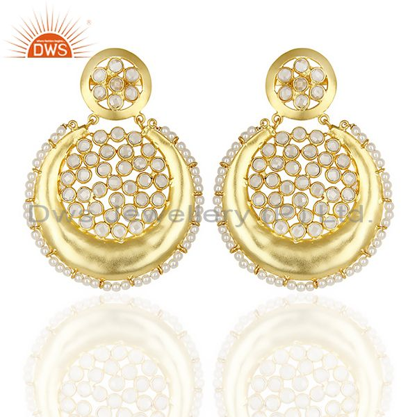 Silver Gold Plated Natural Pearl Gemstone Chand Bali Earrings Supplier