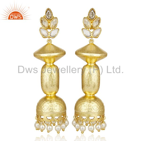 Handcreafted Pearl Jhumka Traditional Bollywood Bridal Jaipur Earring