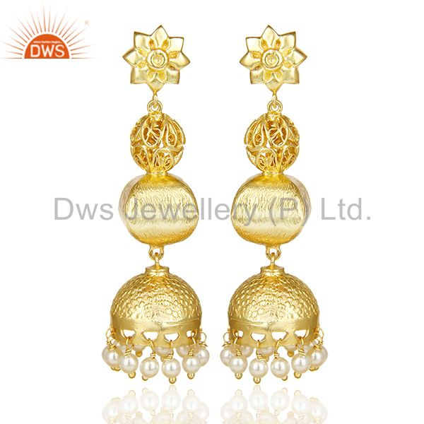 Handcrafted Indian Filigreen Traditional Bollywood Gold Jhumka Silver Earring