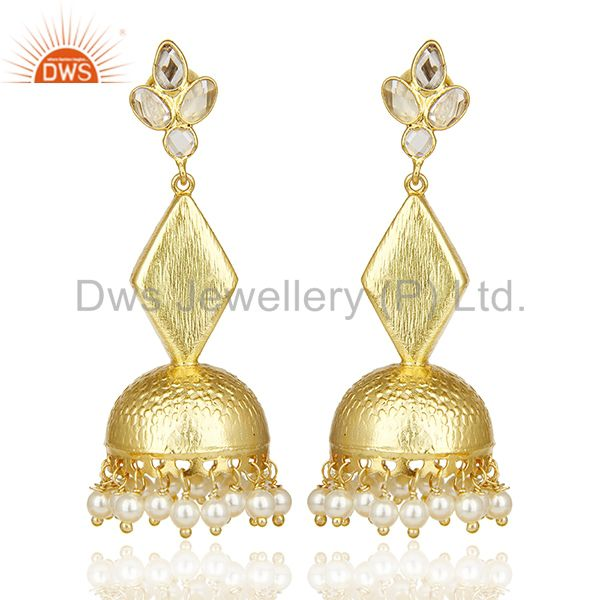 Gold Plated Silver Pearl Gemstone Traditional Earrings Manufacturer
