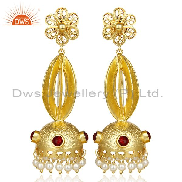 Peal Embalished Handcrafted Traditional Jhumka Dangle Long Silver Earring
