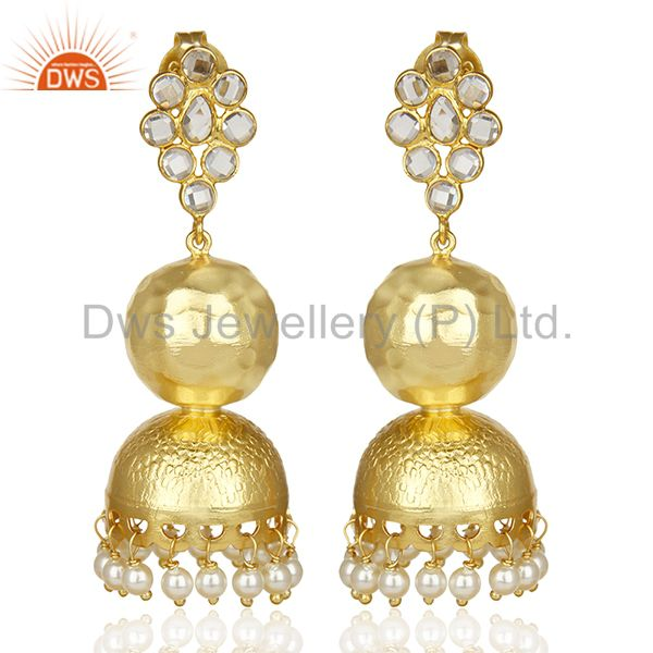 Crystal Embelished Traditional Jhumka Gold Plated Silver Long Earring
