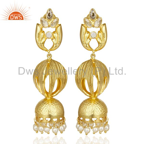 Antique Temple Gold Plated Jhumka Made Of Dull Matte Finish Gold Silver Earring