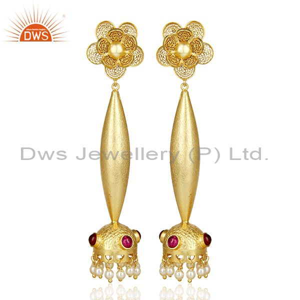 Filigreen Gold And Pearl Bollywood Red Stone Jhumka Gold Plated Silver Earring