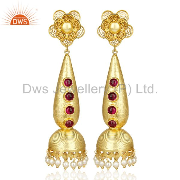 Handcrafted Traditional Gold Plated Jhumka Bridal Indian Silver Earring