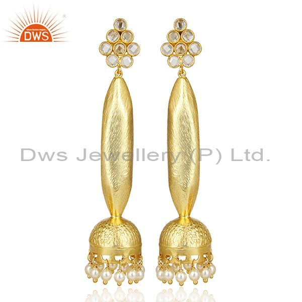 Gold Plated Pearl Oversized Long Bollywood Jhumka Silver Earring