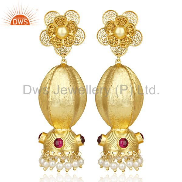 Classy Indian Jhumka Gold Plated Traditional Bollywood  Wholesale Earring