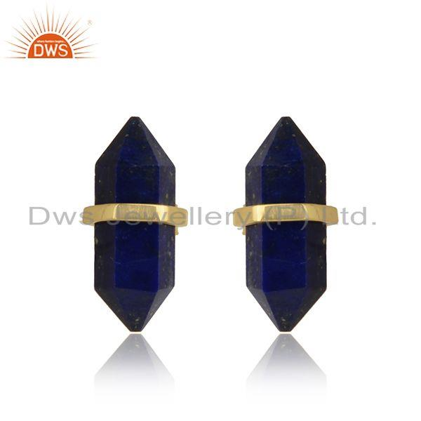 Designer handcrafted lapis pencil gold on sterling silver stud