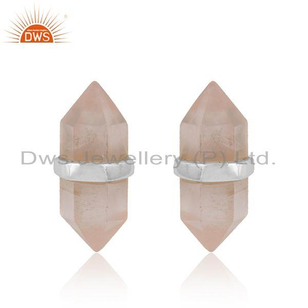 Pencil design rose quartz gemstone designer stud earrings jewelry