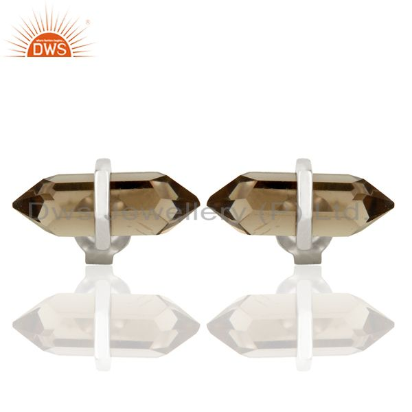 Smoky Topaz Terminated Pencil Post Sterling Silver White Rhodium Plated Earrings