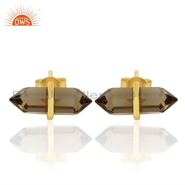 Smoky Topaz Terminated Pencil Post Gold Plated Sterling Silver Earring
