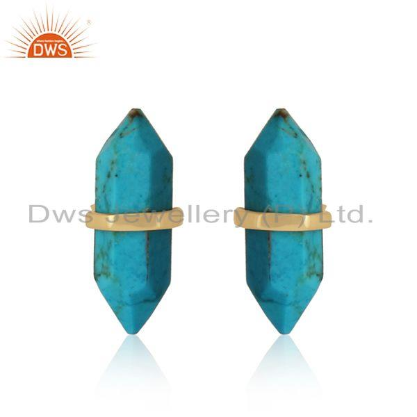 Designer handcrafted turquoise pencil gold on sterling silver stud