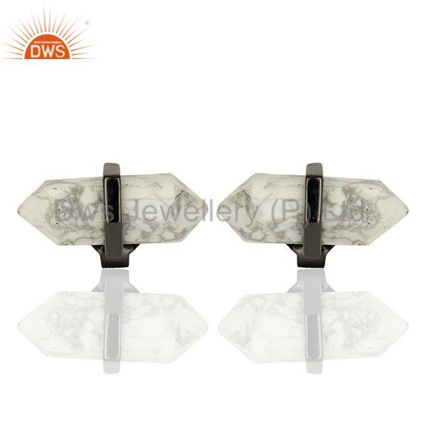 Pencil Design White Howlite Gemstone 925 Silver Stud Earrings Supplier