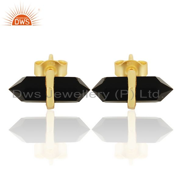 Black Onyx Terminated Pencil Post Gold Plated Sterling Silver Earring