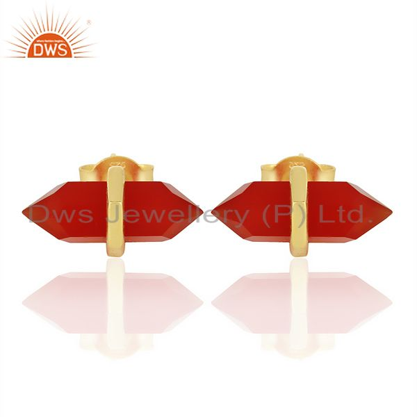 Red Onyx Terminated Pencil Post Gold Plated Sterling Silver Earring