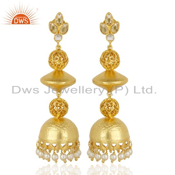 Handcreafted Artisan Indian traditional Gold Plated 92.5 Sillver Jhumka Earring
