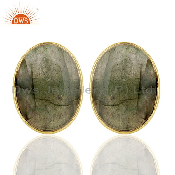 Natural Labrodorite Flat Large Statement Oval Post Gold Plated Silver Earring