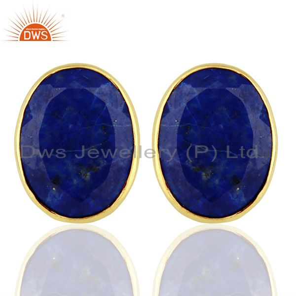 Natural Lapis Flat Large Statement Oval Post Gold Plated Silver Earring