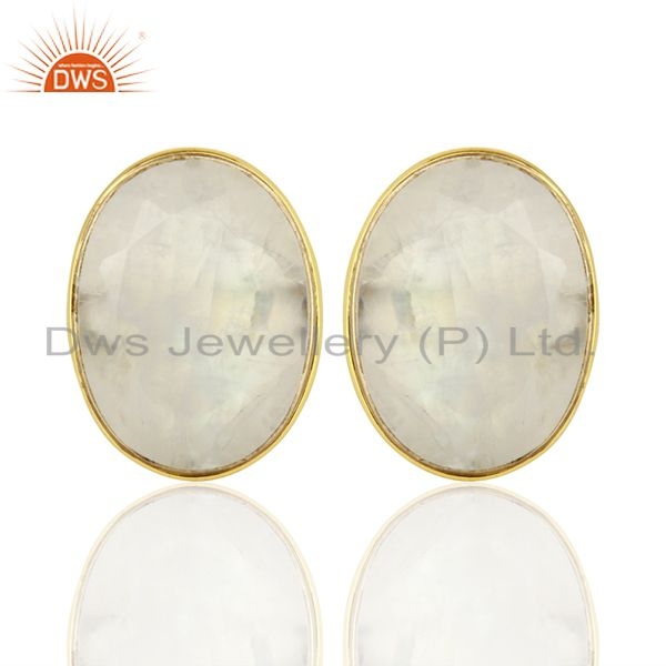 Rainbow Moonstone Flat Large Statement Oval Post Gold Plated Silver Earring
