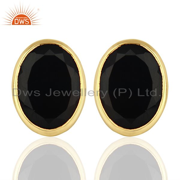 Black Onyx Flat Large Statement Oval Post Gold Plated Silver Earring
